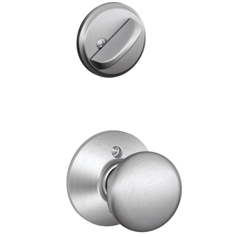Schlage Plymouth 1-5/8-in to 1-3/4-in Satin Chrome Single Cylinder Knob Entry Door Interior Handle