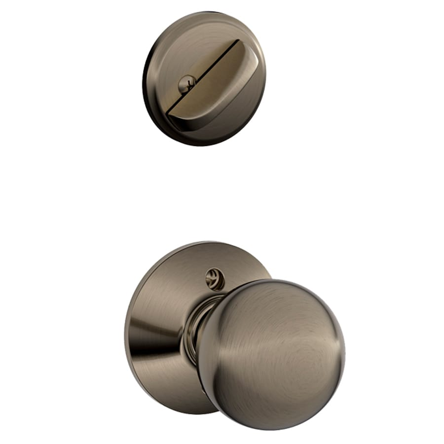 Schlage Orbit 1-5/8-in to 1-3/4-in Antique Pewter Single Cylinder Knob Entry Door Interior Handle