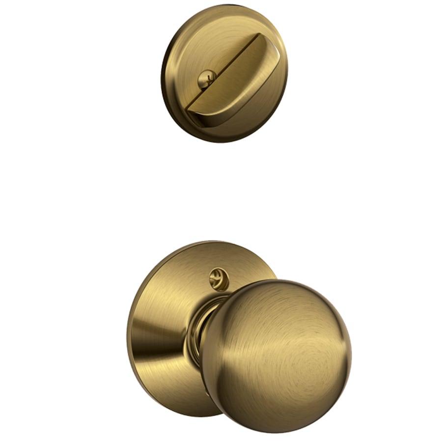 Schlage Orbit 1-5/8-in to 1-3/4-in Antique Brass Single Cylinder Knob Entry Door Interior Handle