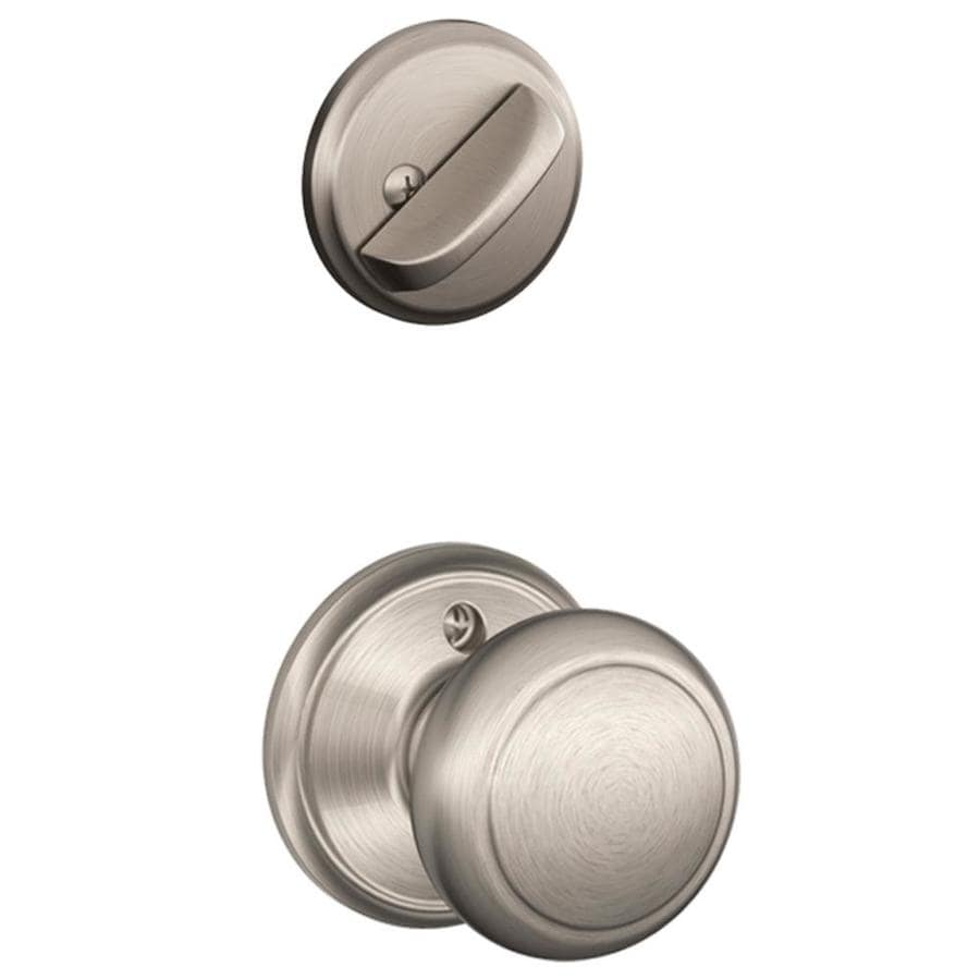 Schlage Andover 1-5/8-in to 1-3/4-in Satin Nickel Single Cylinder Knob Entry Door Interior Handle