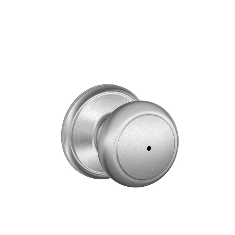 Schlage F Andover Satin Chrome Round Push Button-Lock Privacy Door Knob