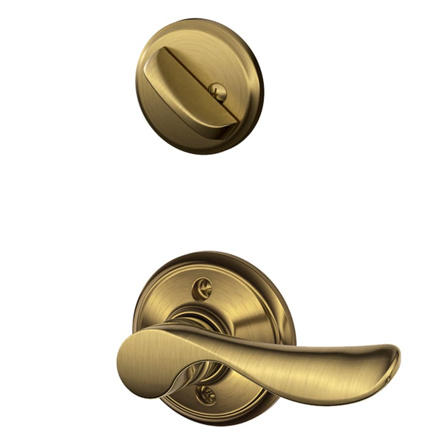 Schlage Champagne 1-5/8-in to 1-3/4-in Antique Brass Single Cylinder Lever Entry Door Interior Handle