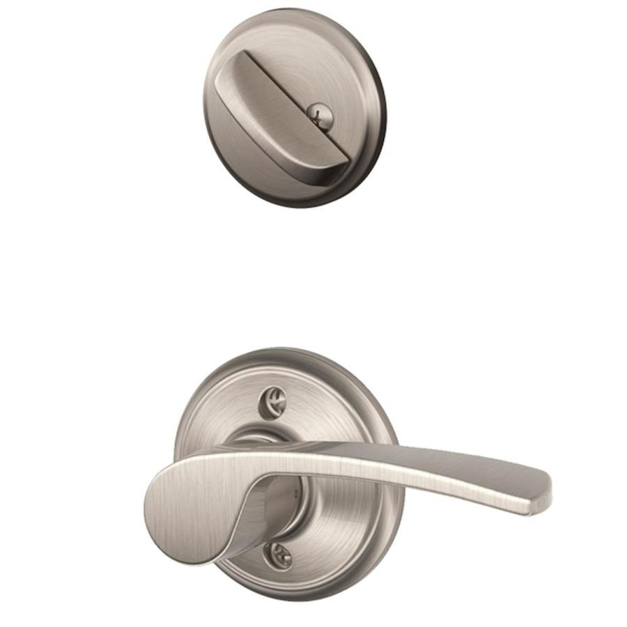 Schlage Merano 1-5/8-in to 1-3/4-in Satin Nickel Single Cylinder Lever Entry Door Interior Handle