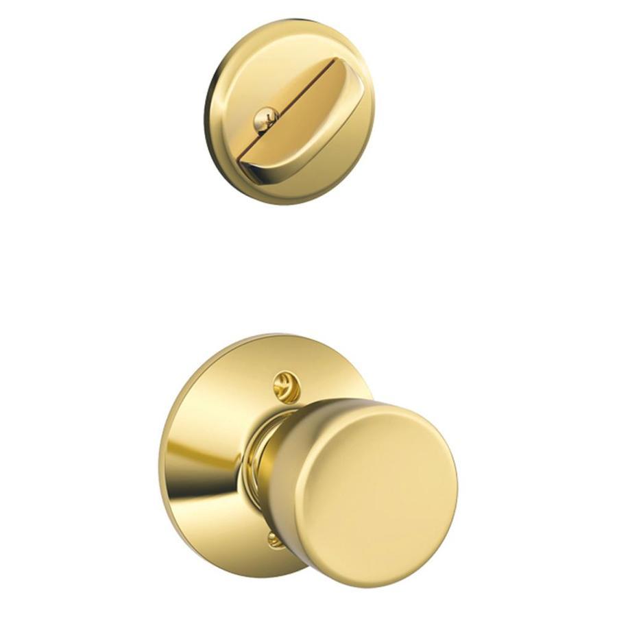 Schlage Bell 1-5/8-in to 1-3/4-in Bright Brass Single Cylinder Knob Entry Door Interior Handle