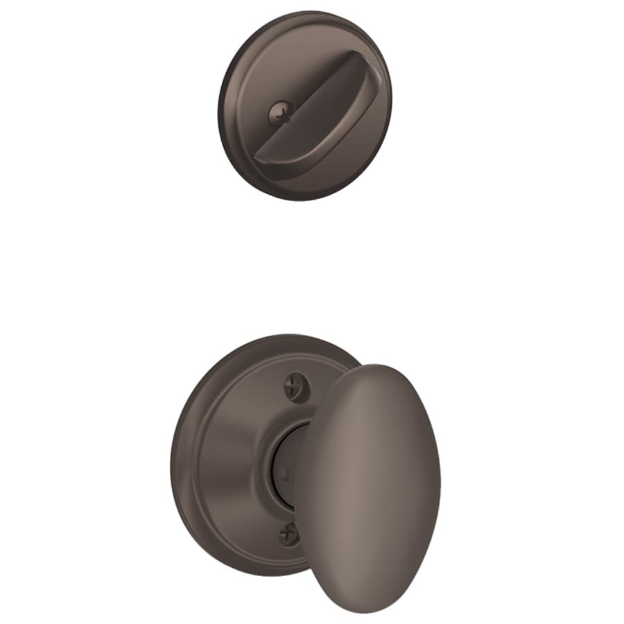 Schlage Siena 1-5/8-in to 1-3/4-in Oil-Rubbed Bronze Single Cylinder Knob Entry Door Interior Handle