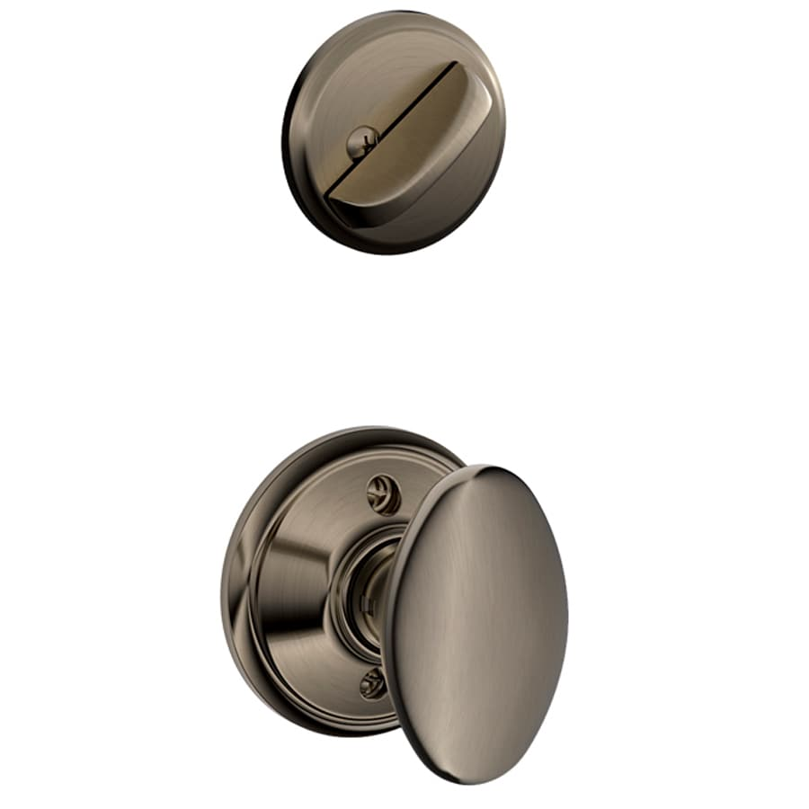 Schlage Siena 1-5/8-in to 1-3/4-in Antique Pewter Single Cylinder Knob Entry Door Interior Handle