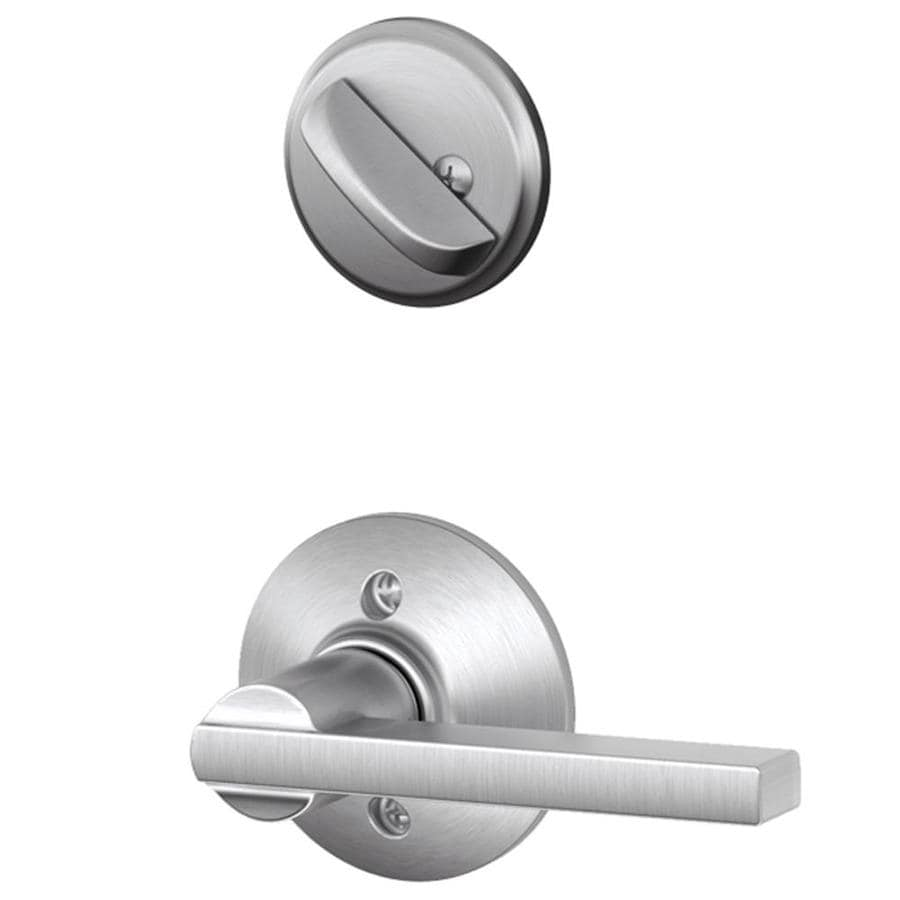 Schlage Latitude 1-5/8-in to 1-3/4-in Satin Chrome Single Cylinder Lever Entry Door Interior Handle