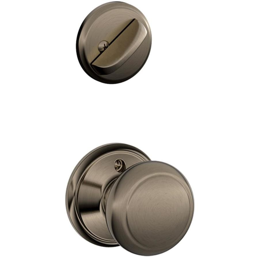 Schlage Andover 1-5/8-in to 1-3/4-in Antique Pewter Single Cylinder Knob Entry Door Interior Handle