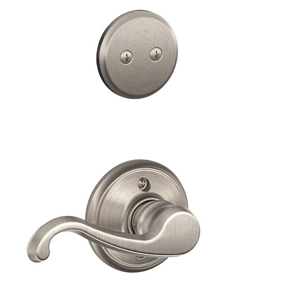 Schlage Callington 1-5/8-in to 1-3/4-in Satin Nickel Non-Keyed Lever Entry Door Interior Handle