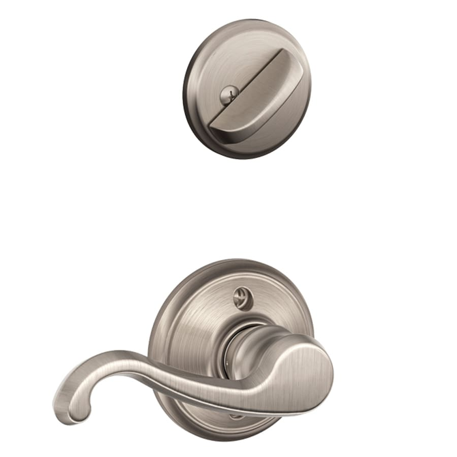 Schlage Callington 1-5/8-in to 1-3/4-in Satin Nickel Single Cylinder Lever Entry Door Interior Handle