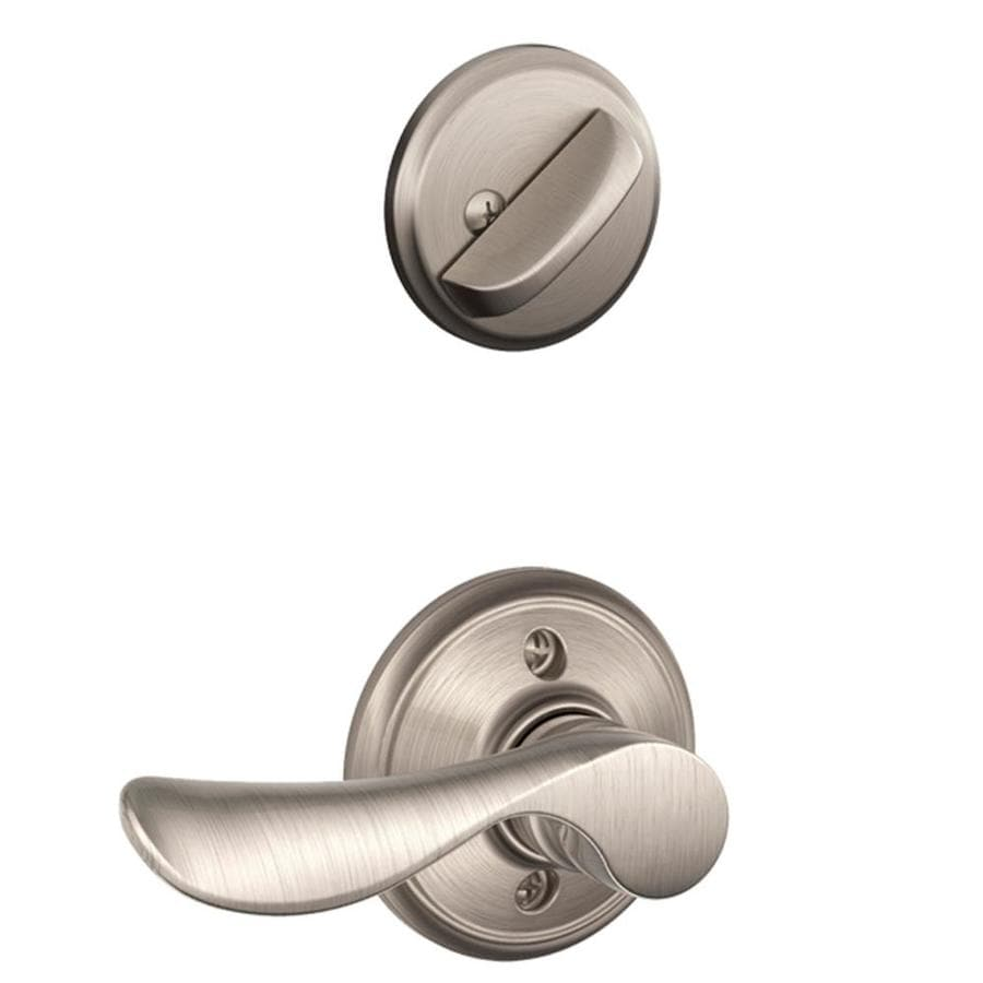 Schlage Champagne 1-5/8-in to 1-3/4-in Satin Nickel Single Cylinder Lever Entry Door Interior Handle