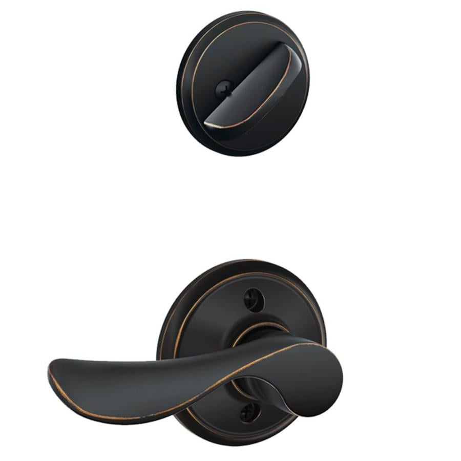 Schlage Champagne 1-5/8-in to 1-3/4-in Aged Bronze Single Cylinder Lever Entry Door Interior Handle