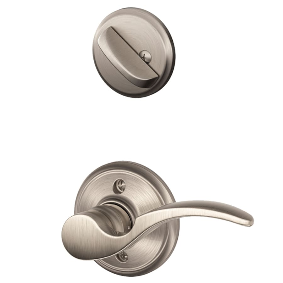 Shop Schlage St Annes 1 5 8 In To 1 3 4 In Satin Nickel Single Cylinder Lever Entry Door