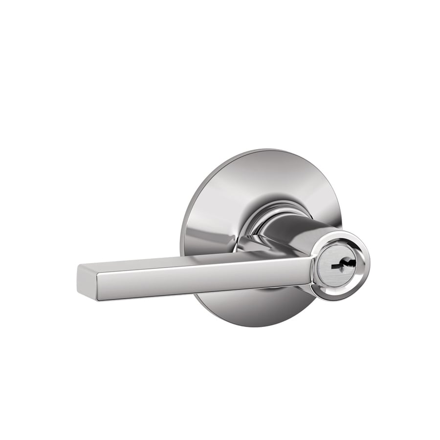 Schlage F Latitude Traditional Bright Chrome Universal Keyed Entry Door Lever