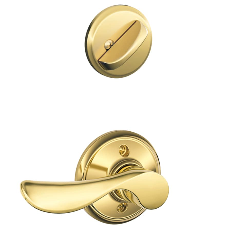 Schlage Champagne 1-5/8-in to 1-3/4-in Bright Brass Single Cylinder Lever Entry Door Interior Handle