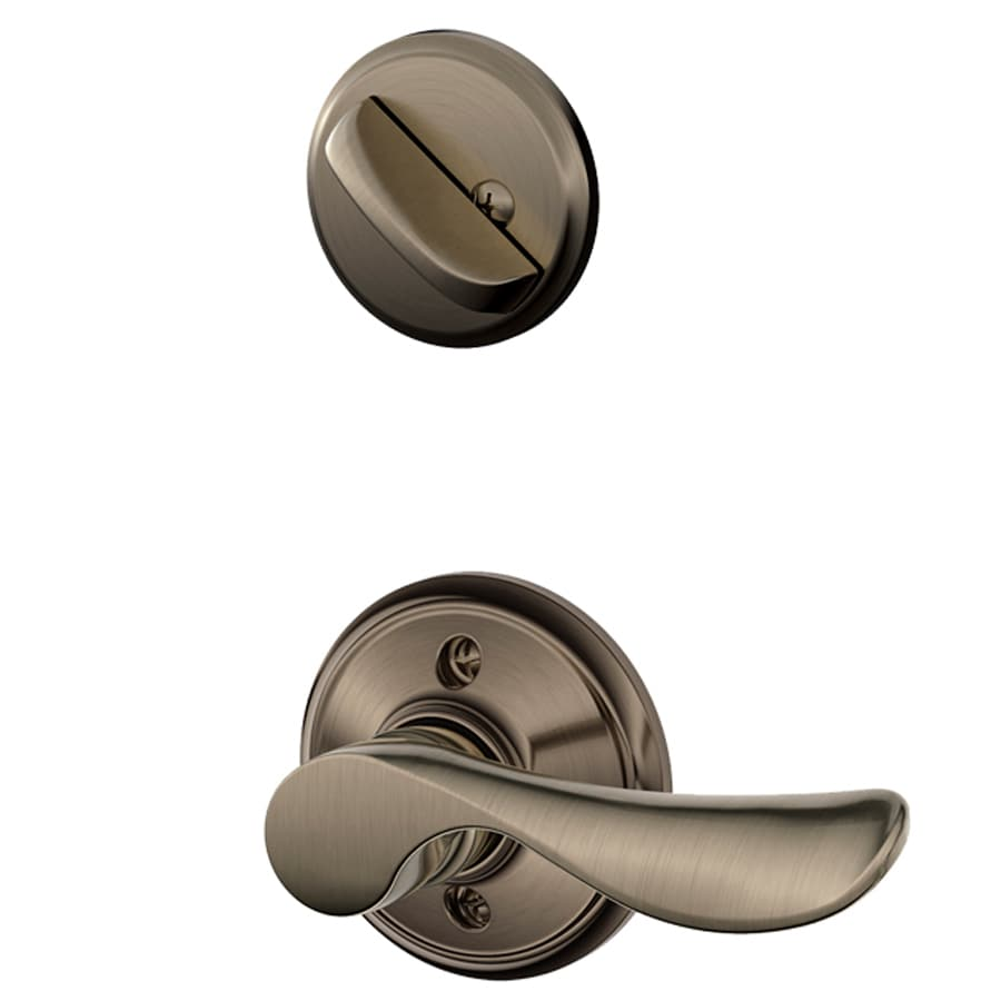 Schlage Champagne 1-5/8-in to 1-3/4-in Antique Pewter Single Cylinder Lever Entry Door Interior Handle