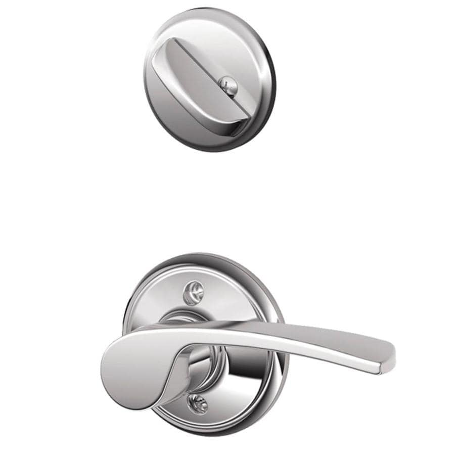 Schlage Merano 1-5/8-in to 1-3/4-in Bright Chrome Single Cylinder Lever Entry Door Interior Handle