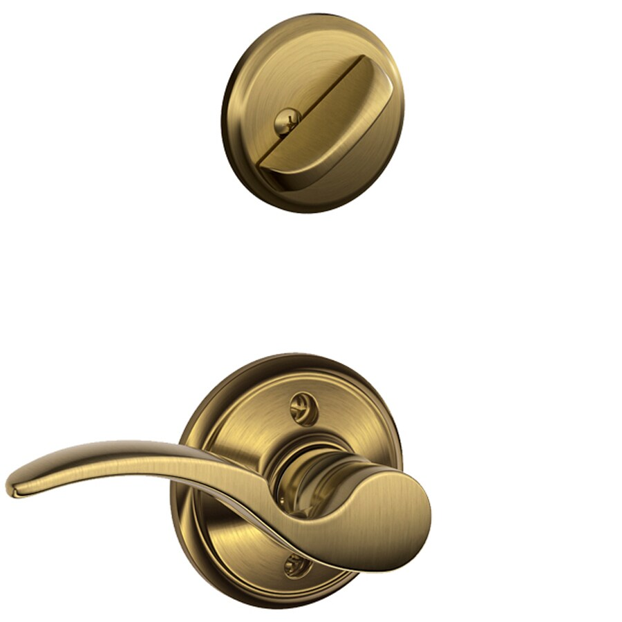 Shop Schlage St Annes 1 5 8 In To 1 3 4 In Antique Brass Single Cylinder Lever Entry Door