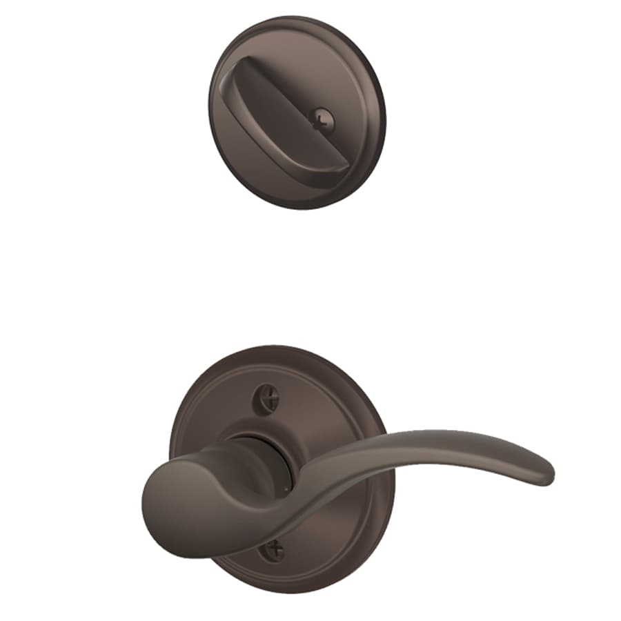Schlage St Annes 1-5/8-in to 1-3/4-in Oil-Rubbed Bronze Single Cylinder Lever Entry Door Interior Handle