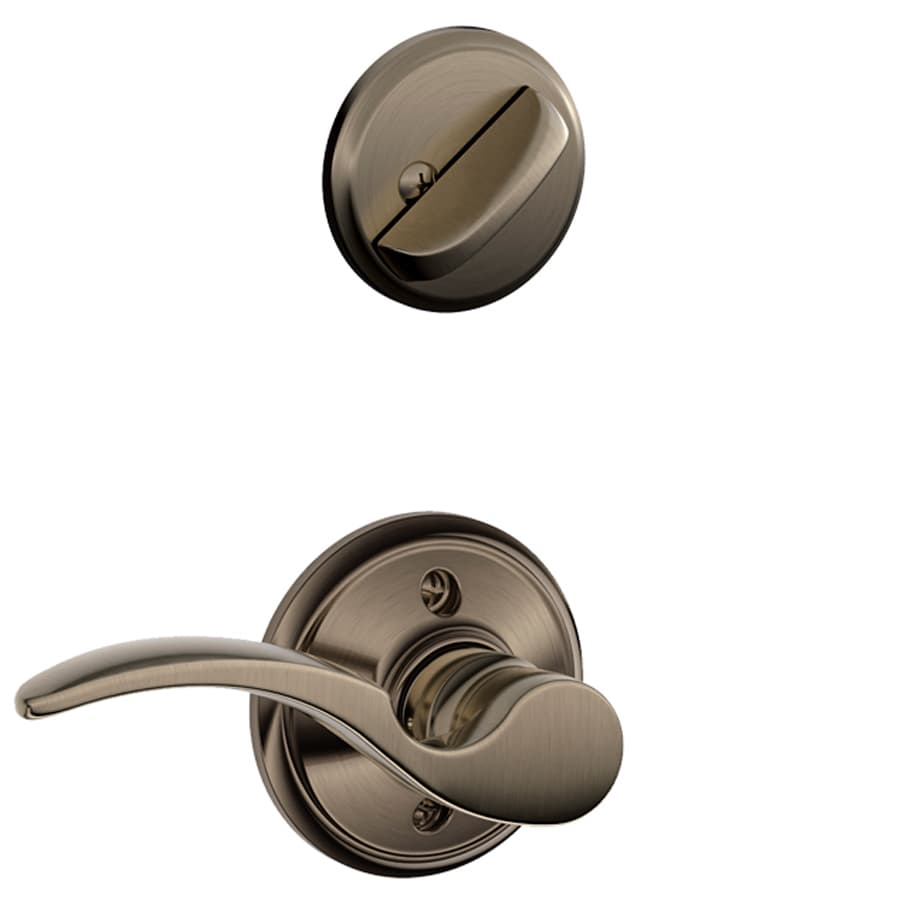 Schlage St Annes 1-5/8-in to 1-3/4-in Antique Pewter Single Cylinder Lever Entry Door Interior Handle