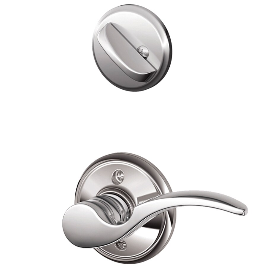 Schlage St Annes 1-5/8-in to 1-3/4-in Bright Chrome Single Cylinder Lever Entry Door Interior Handle