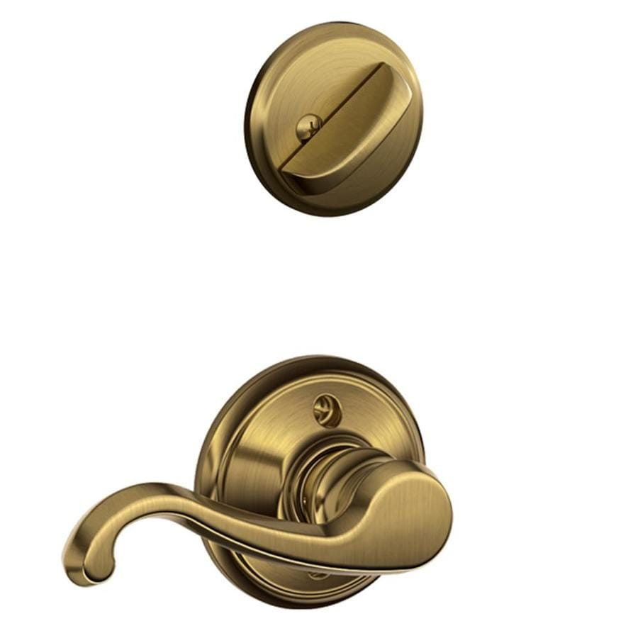 Schlage Callington 1-5/8-in to 1-3/4-in Antique Brass Single Cylinder Lever Entry Door Interior Handle