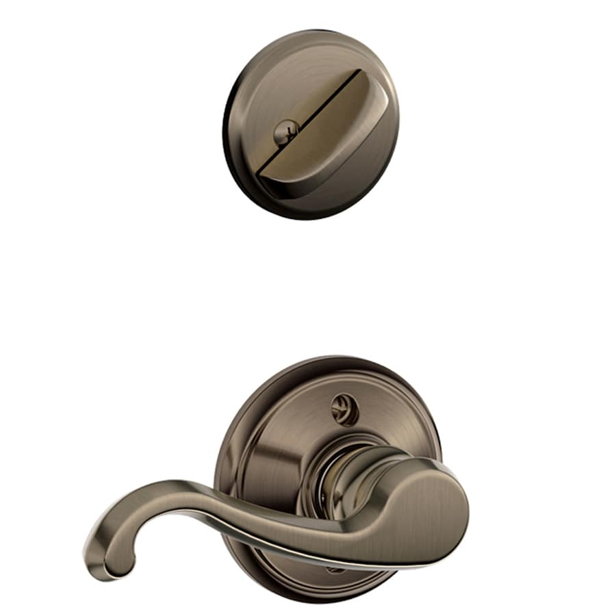 Schlage Callington 1-5/8-in to 1-3/4-in Antique Pewter Single Cylinder Lever Entry Door Interior Handle