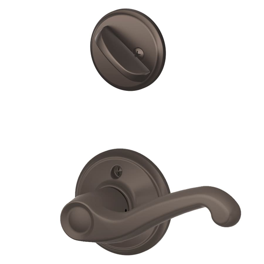 Schlage Flair 1-5/8-in to 1-3/4-in Oil-Rubbed Bronze Single Cylinder Lever Entry Door Interior Handle