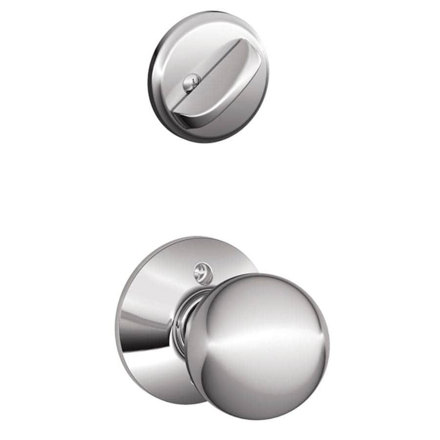 Schlage Orbit 1-5/8-in to 1-3/4-in Bright Chrome Single Cylinder Knob Entry Door Interior Handle