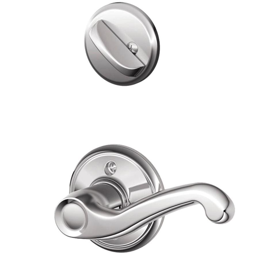 Schlage Flair 1-5/8-in to 1-3/4-in Bright Chrome Single Cylinder Lever Entry Door Interior Handle