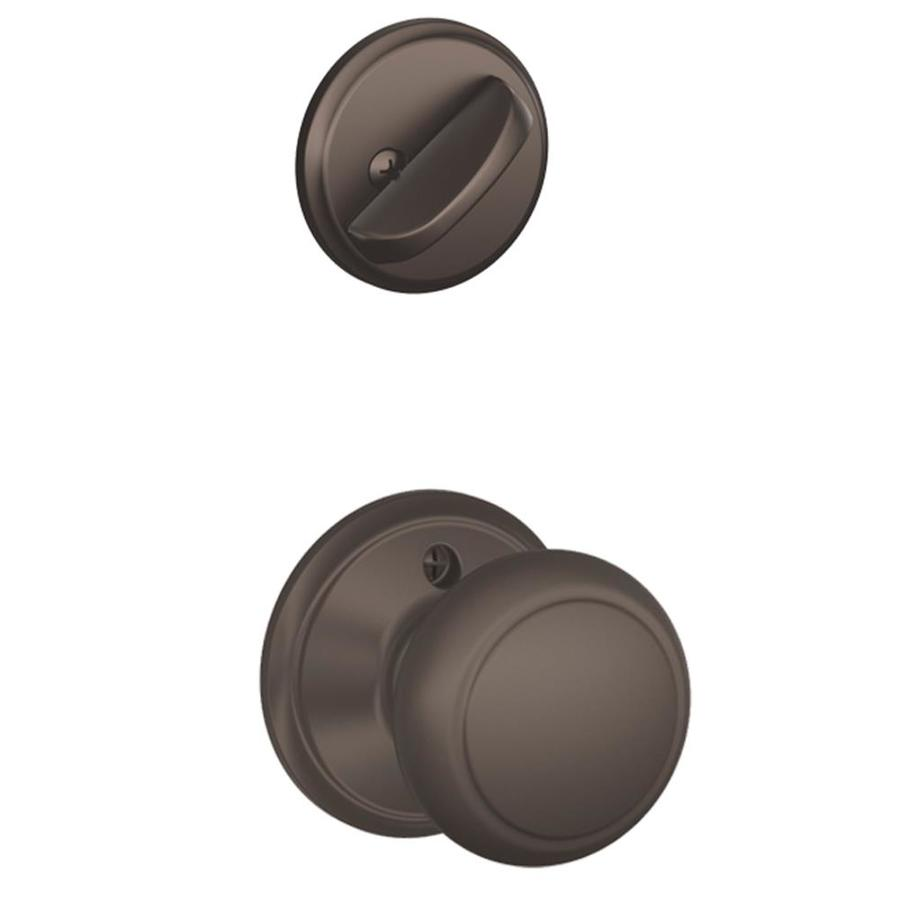 Schlage Andover 1-5/8-in to 1-3/4-in Oil-Rubbed Bronze Single Cylinder Knob Entry Door Interior Handle