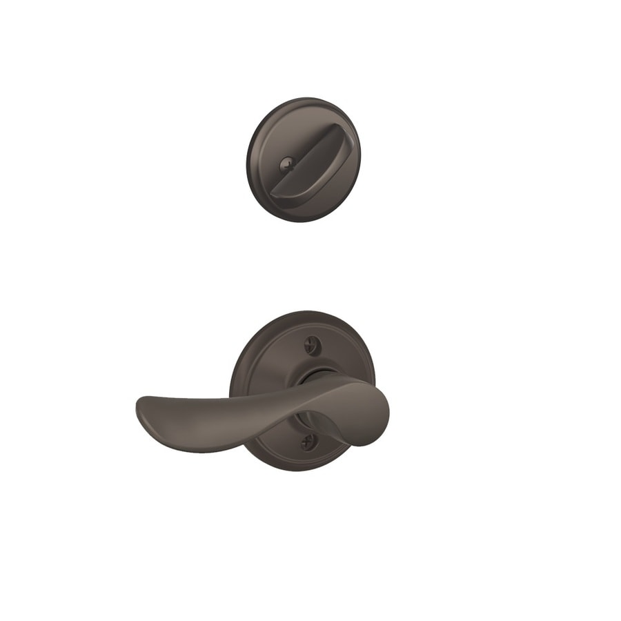 Schlage Champagne 1-5/8-in to 1-3/4-in Oil-Rubbed Bronze Single Cylinder Lever Entry Door Interior Handle