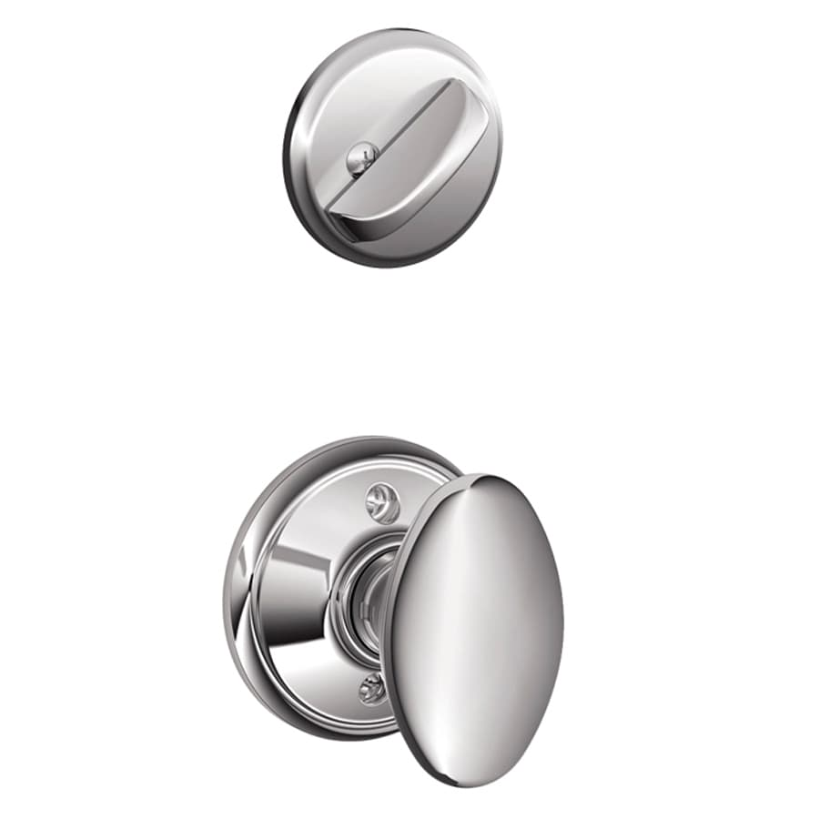 Schlage Siena 1-5/8-in to 1-3/4-in Bright Chrome Single Cylinder Knob Entry Door Interior Handle