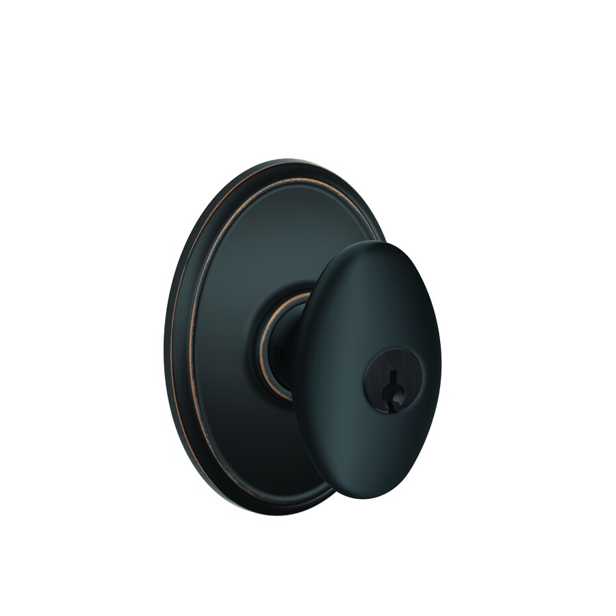 Schlage Wakefield Aged Bronze Egg Keyed Entry Door Knob