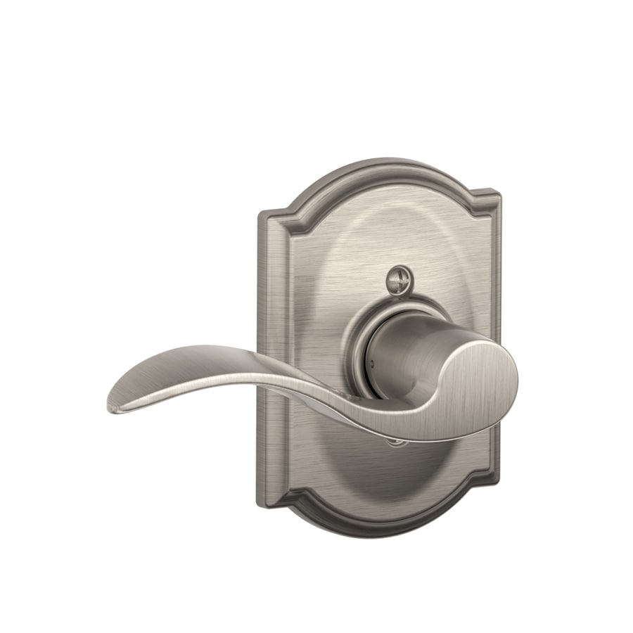 Schlage Camelot - Accent Satin Nickel Left-Handed Dummy Door Lever
