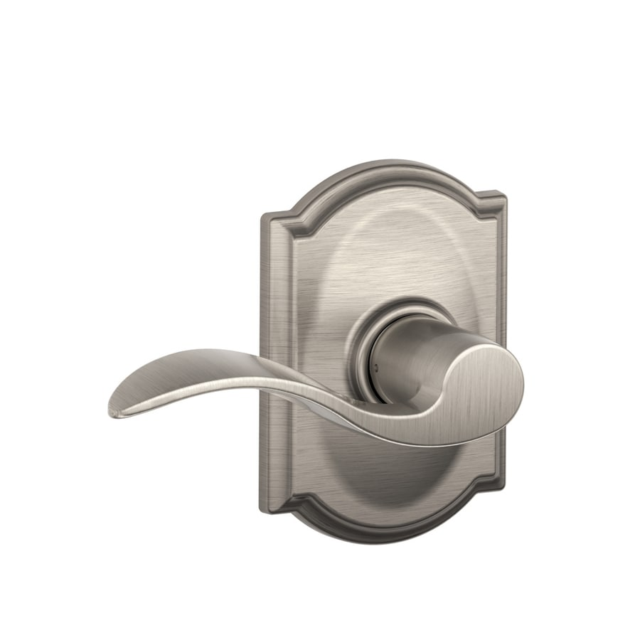 Schlage Camelot Collection Accent Passage Satin Nickel Passage Door Lever