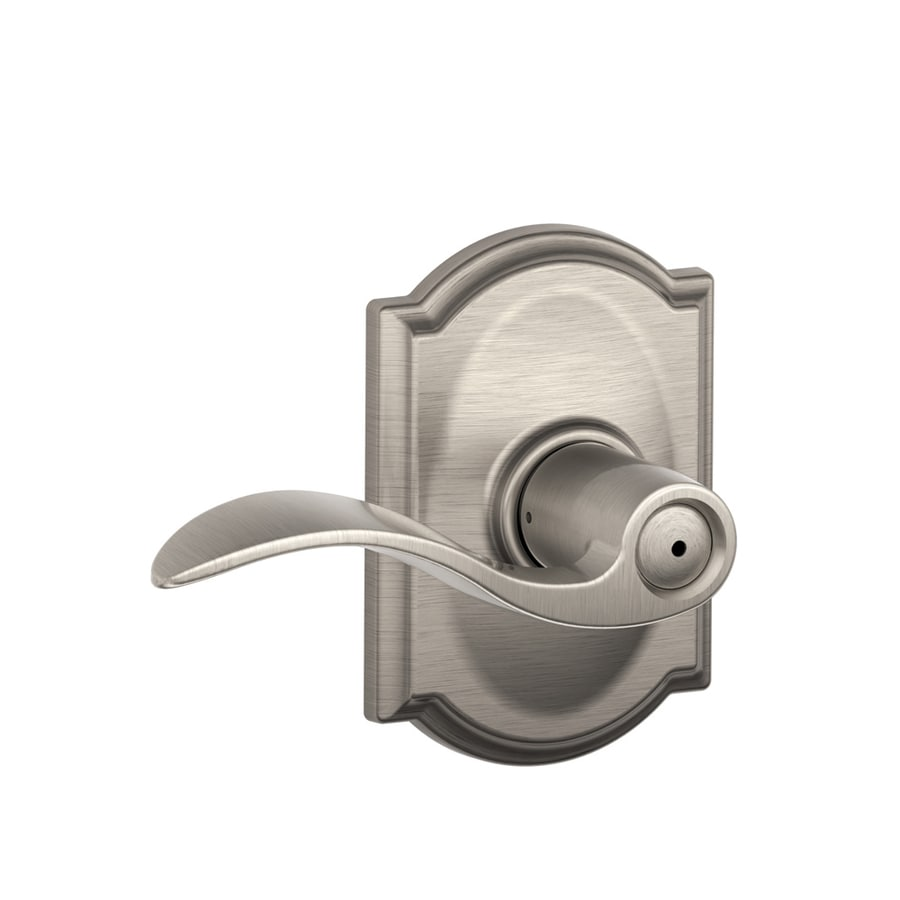 Schlage Camelot Collection Accent Privacy Satin Nickel Universal Push-Button Lock Privacy Door Lever