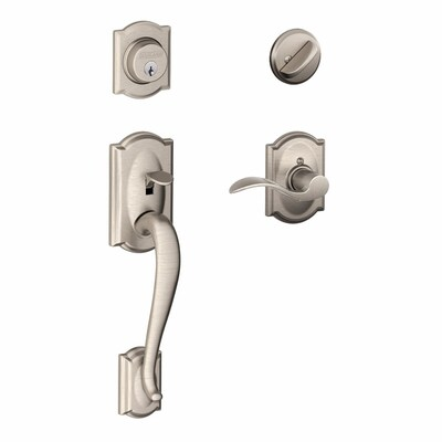 Schlage F60 Camelot Accent Camelot Satin Nickel Single Cylinder Deadbolt Keyed Entry Door Handleset Accent In The Handlesets Department At Lowes Com