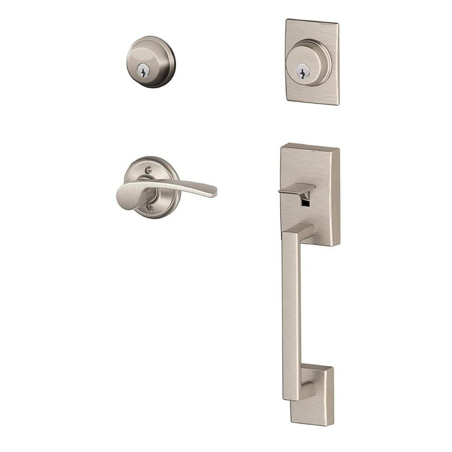 Schlage F Century x Merano Lever Satin Nickel Dual-Lock Keyed Entry Door Handleset