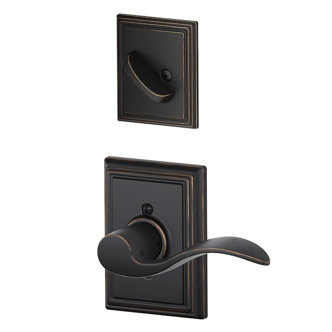 Schlage F Decorative Accent X Addison Rose Aged Bronze Single Cylinder Deadbolt Entry Door Interior Handle Accent In The Handlesets Department At Lowes Com