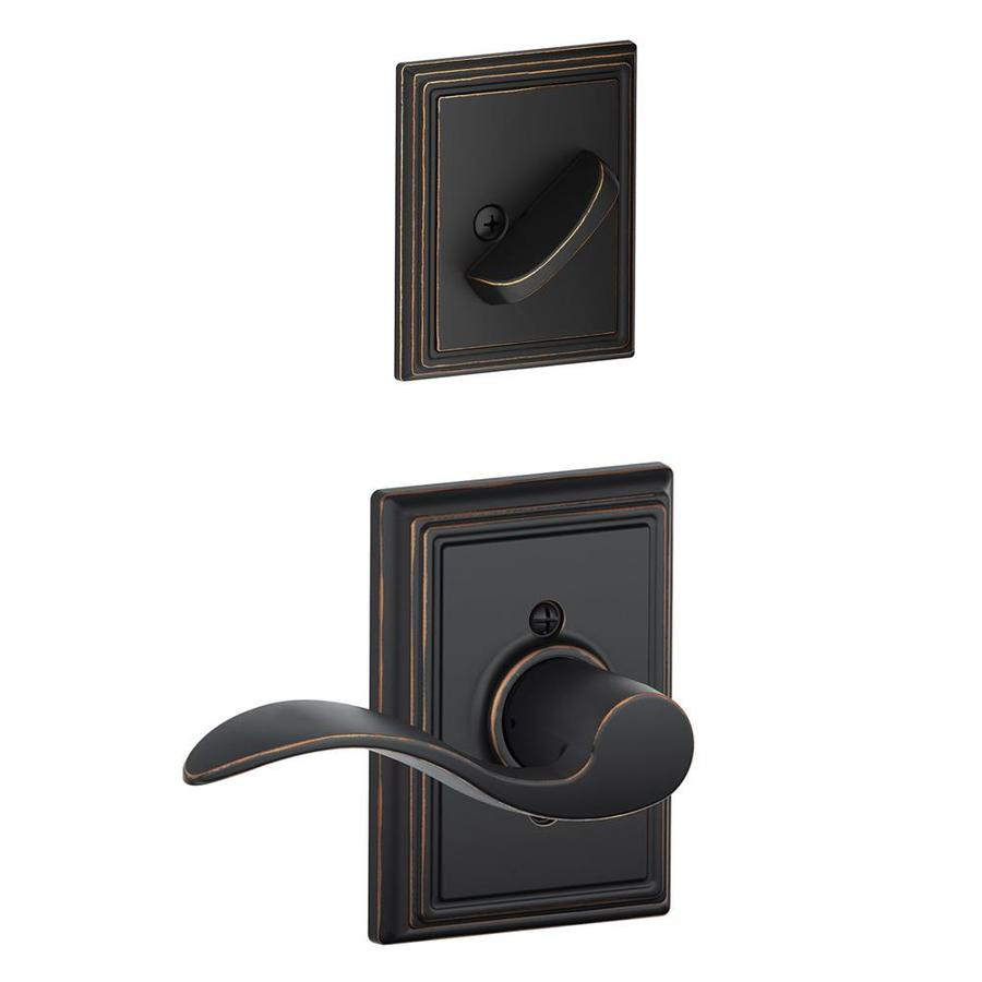 Schlage Accent x Addison Rose 1-5/8-in to 1-3/4-in Aged Bronze Traditional Single Cylinder Lever Entry Door Interior Handle