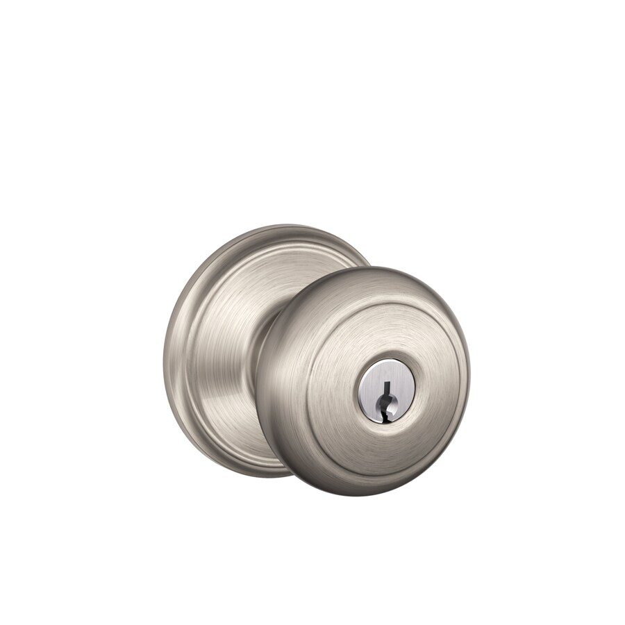 Schlage F Andover Satin Nickel Round Keyed Entry Door Knob