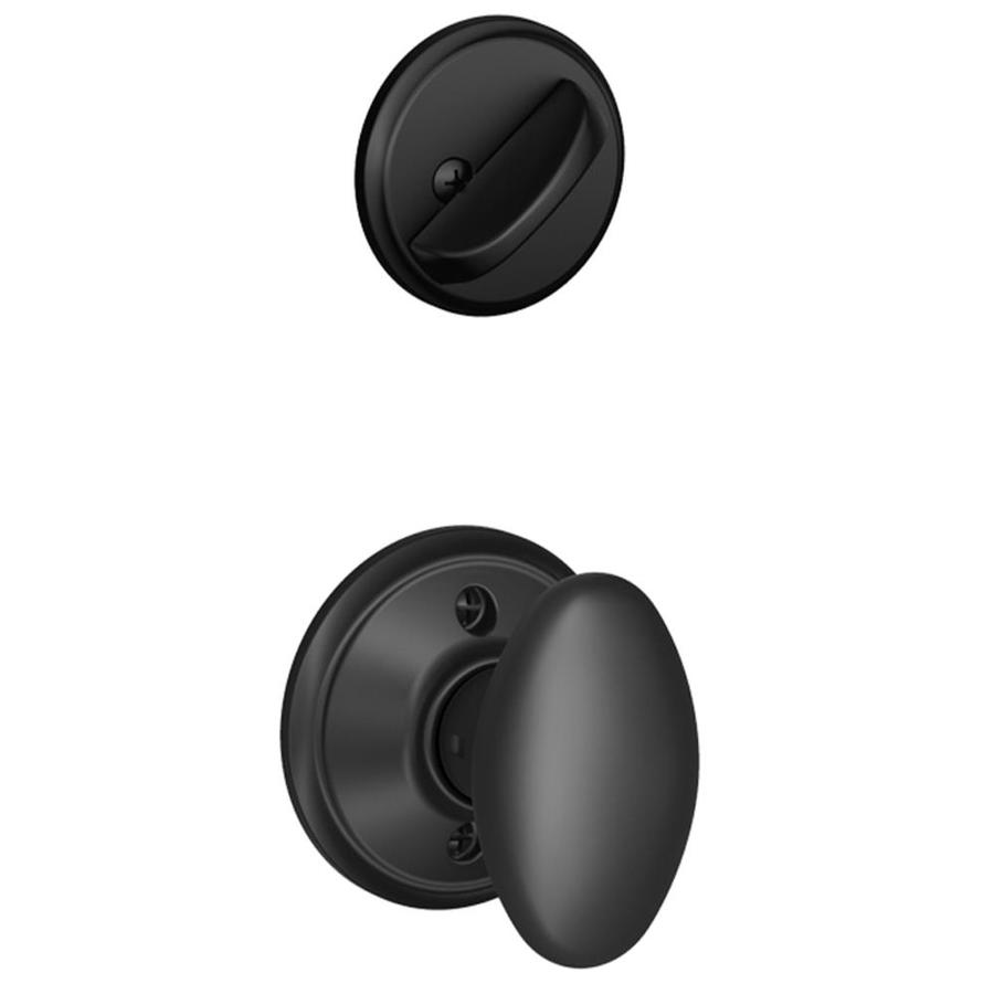 Shop schlage siena 1 5 8 in to 1 3 4 in matte black single for Exterior door knobs