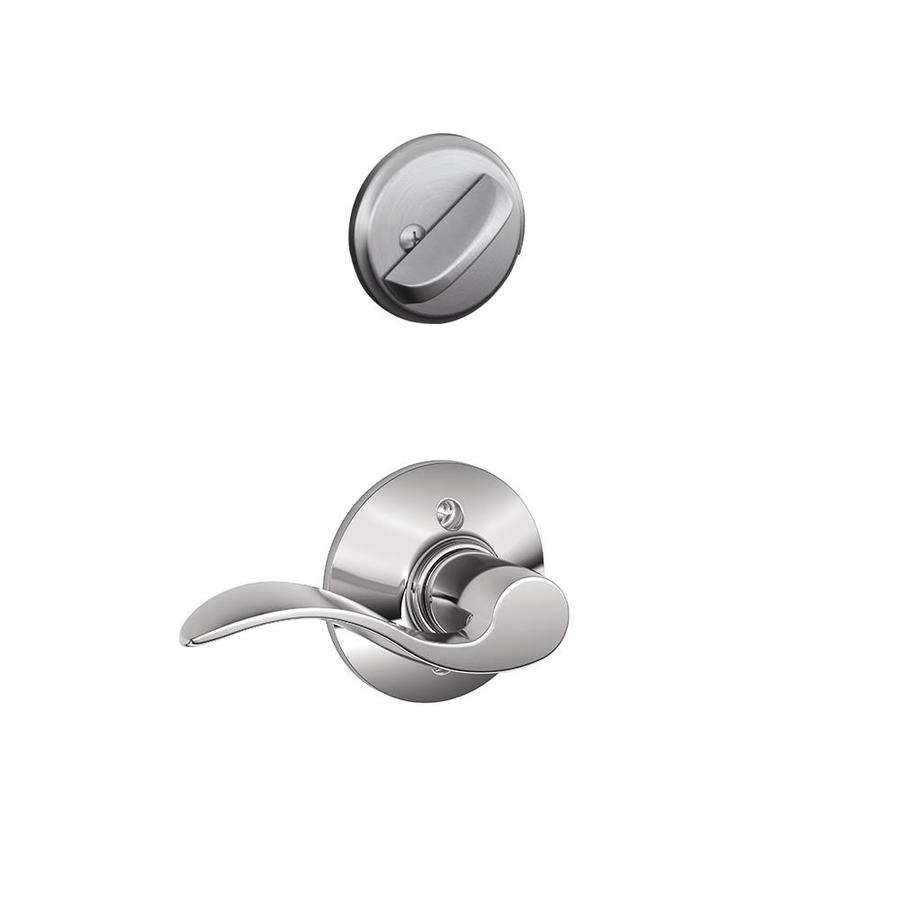 Schlage Accent 1-5/8-in to 1-3/4-in Satin Chrome Single Cylinder Lever Entry Door Interior Handle