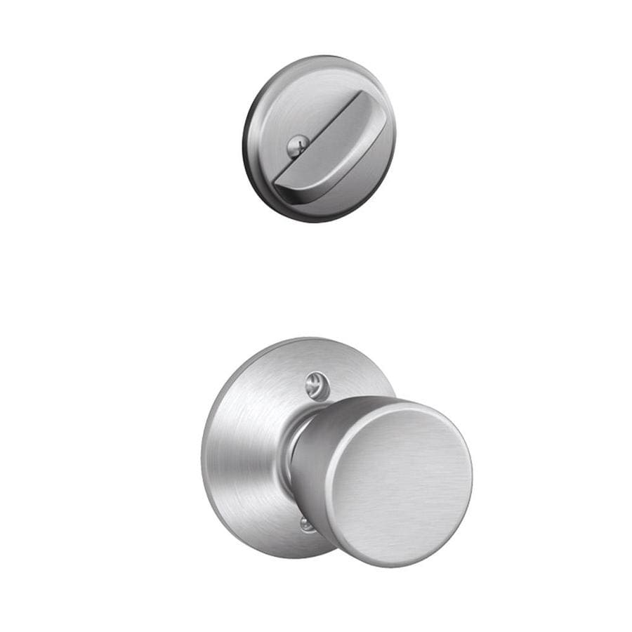 Schlage Bell 1-5/8-in to 1-3/4-in Satin Chrome Single Cylinder Knob Entry Door Interior Handle