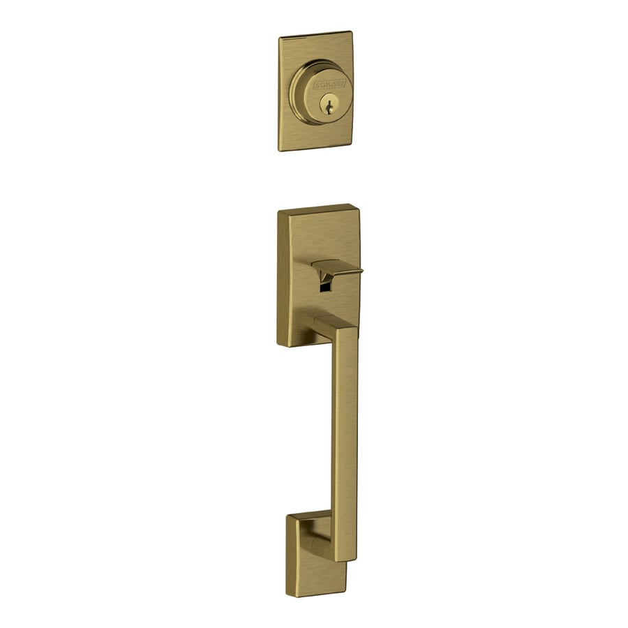 shop schlage century antique brass entry door exterior handle at