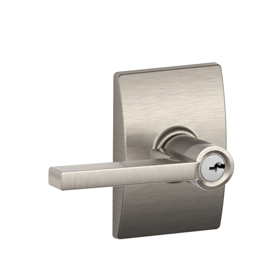 Schlage F51 Latitude/Century Latitude With Century Satin Nickel Keyed Entry Door  Handle