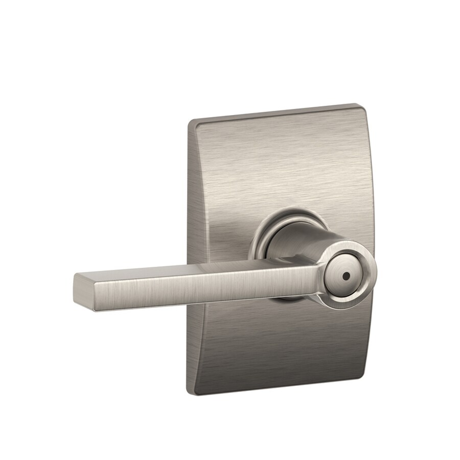 Schlage Century Collection Latitude Privacy Satin Nickel Push-Button Lock Privacy Door Lever