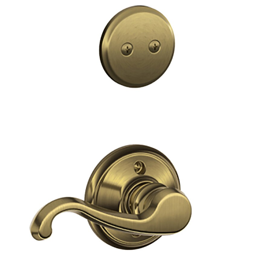 Shop Schlage Callington 1 5 8 In To 1 3 4 In Antique Brass Non Keyed Lever Entry Door Interior