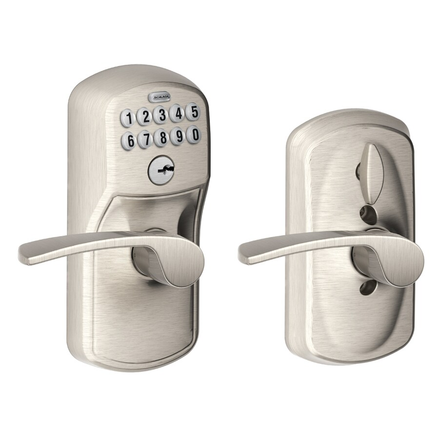 Schlage Plymouth Satin Nickel Electronic Entry Door Lever